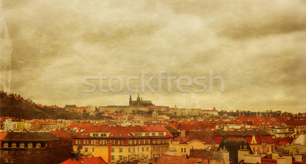 Prague panorama view from Vysehrad, photo stylized antique postcard Stock photo © Zhukow