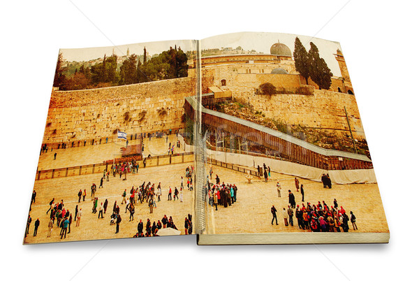 An opened old book with a picture Western Wall,Temple Mount, Jerusalem.Photo in old color image styl Stock photo © Zhukow