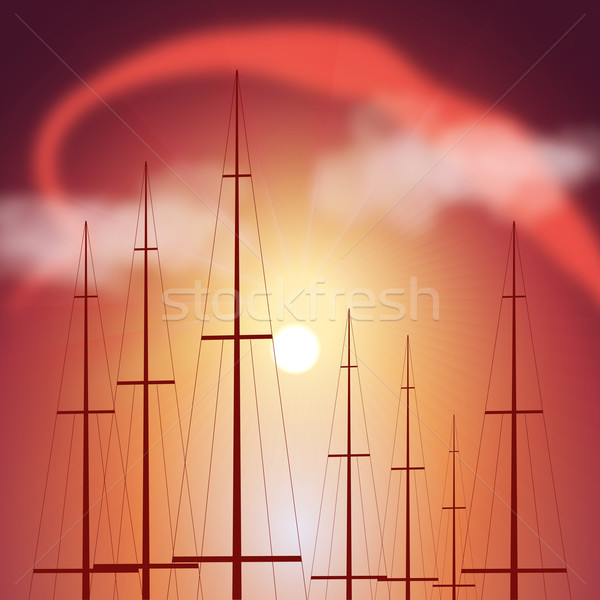 Yacht coucher du soleil illustration soleil mer noir Photo stock © Zhukow