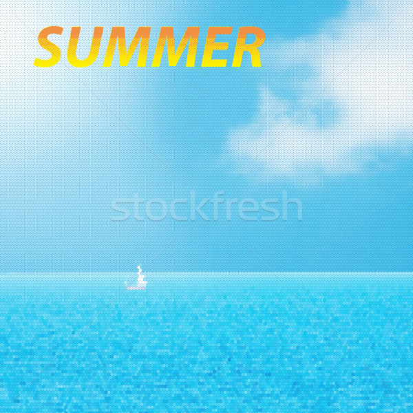 Typographic Design -Summer, geometrical shapes, yacht and blue w Stock photo © Zhukow