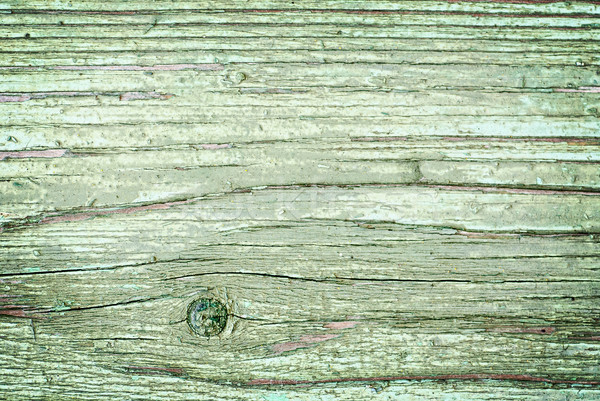 Stock photo: Old cracked painted texture. Rusty green wood.
