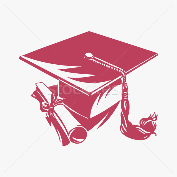 Graduation cap and diploma, vector Stock photo © Zhukow
