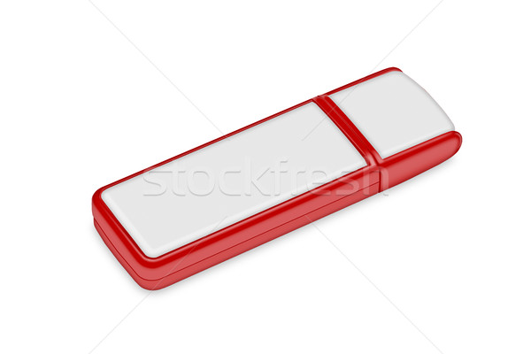Czerwony flash drive biały ilustracja czarny sklepu Zdjęcia stock © Zhukow