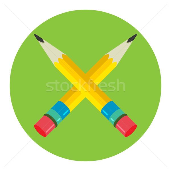 Deux crayon icône logo vecteur symbole Photo stock © Zhukow