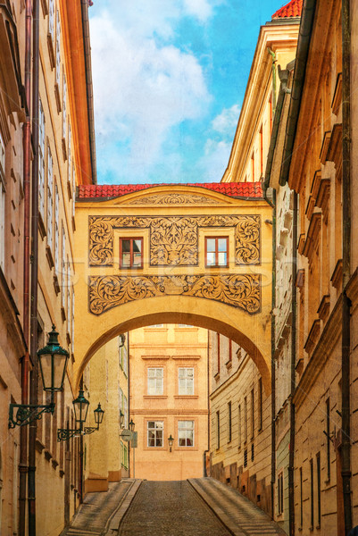 Street of Prague, Czech Republic, old color image style. Stock photo © Zhukow