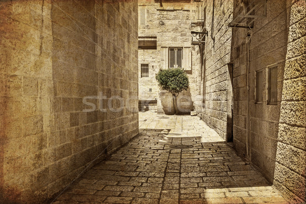 Ancient Alley in Jewish Quarter, Jerusalem. Photo in old color image style. Stock photo © Zhukow