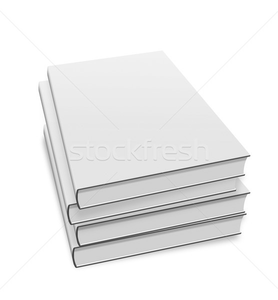 collection of various blank white books on white background Stock photo © Zhukow