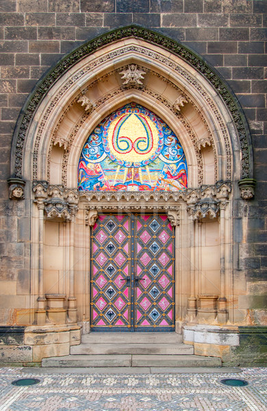 Vintage door. Entrance to the cathedral at Vysehrad, Prague. Stock photo © Zhukow
