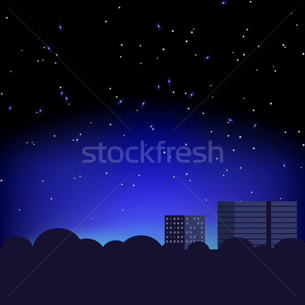 Silhouette of the city and night sky with stars Stock photo © Zhukow