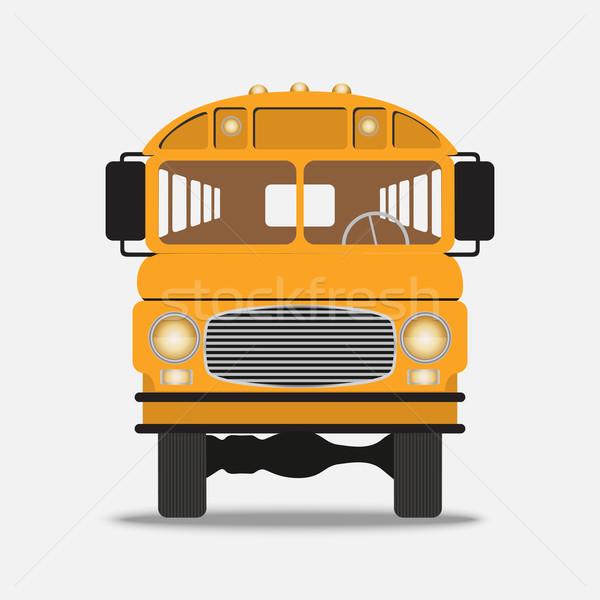 Amarelo ônibus escolar ilustração ver branco Foto stock © Zhukow