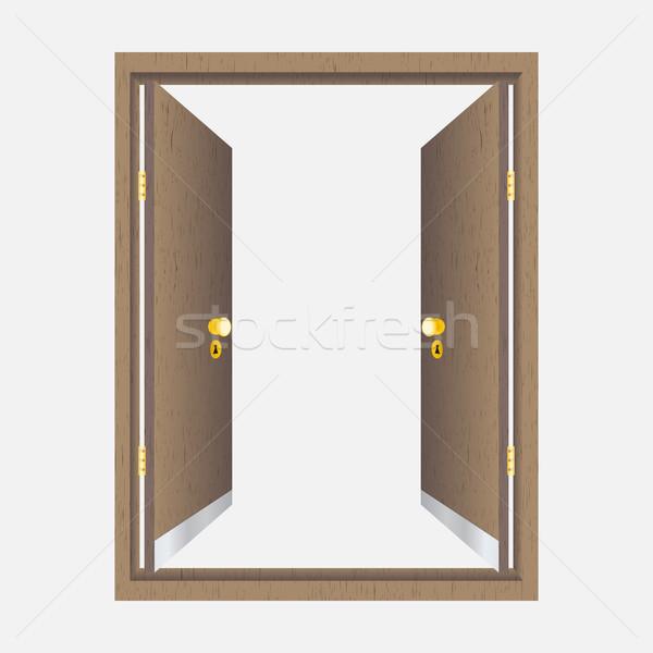 Drewna otwartych drzwi ramki odizolowany domu drzwi Zdjęcia stock © Zhukow
