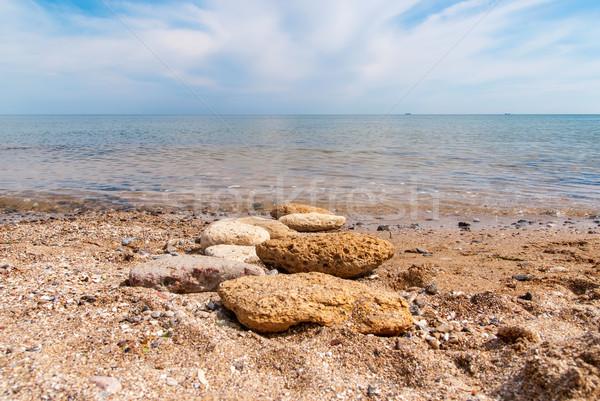 Pedras praia ensolarado verão dia natureza Foto stock © Zhukow