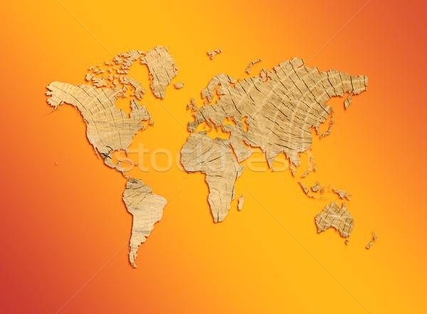Stockfoto: Wereldkaart · textuur · boom · oranje · business · computer