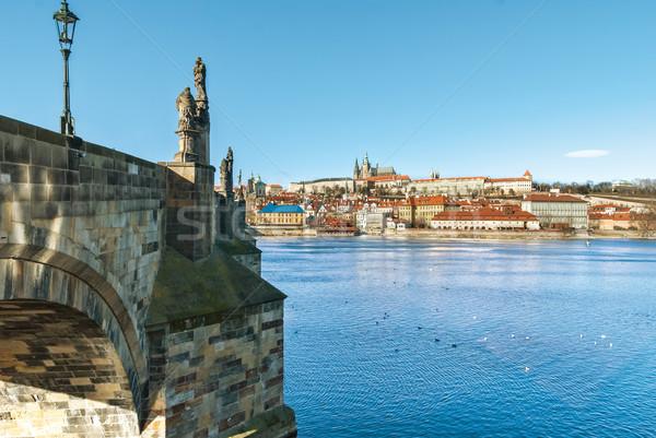 Praag brug stad Tsjechische Republiek water landschap Stockfoto © Zhukow