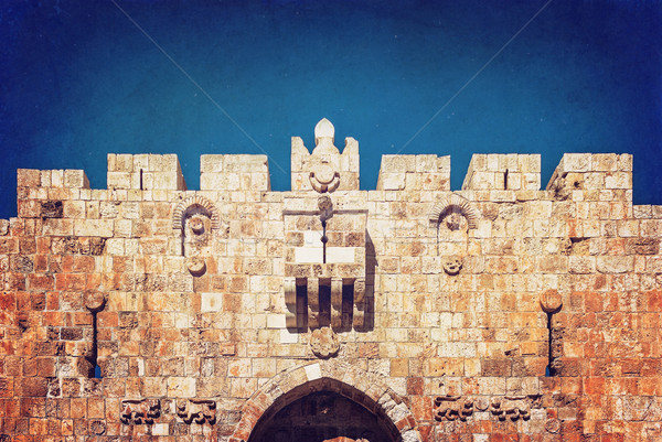Lion Gate of the ancient wall surrounding  Old City  Jerusalem Stock photo © Zhukow