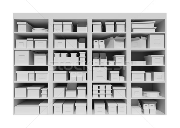 Shopping prateleiras caixas isolado branco supermercado Foto stock © Zhukow
