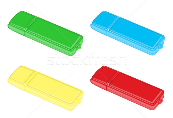 Rood Geel Blauw groene flash drive witte Stockfoto © Zhukow