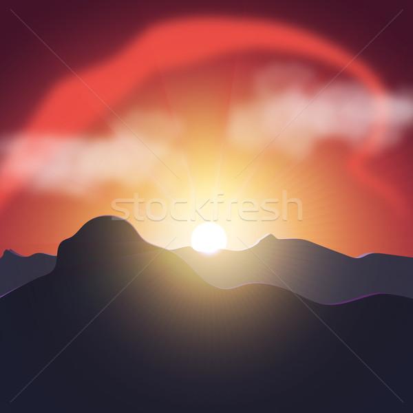 Pourpre coucher du soleil montagnes belle paysage nature Photo stock © Zhukow