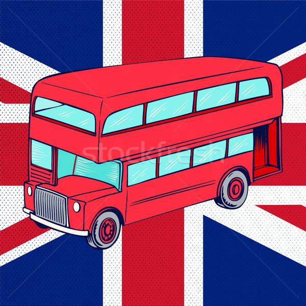 London Bus With UK Flag Stock photo © Zhukow