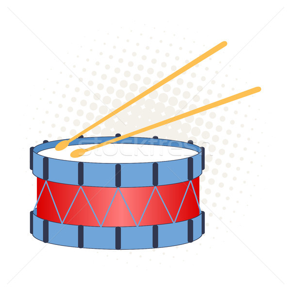 Stock photo: Toy drum on a white background