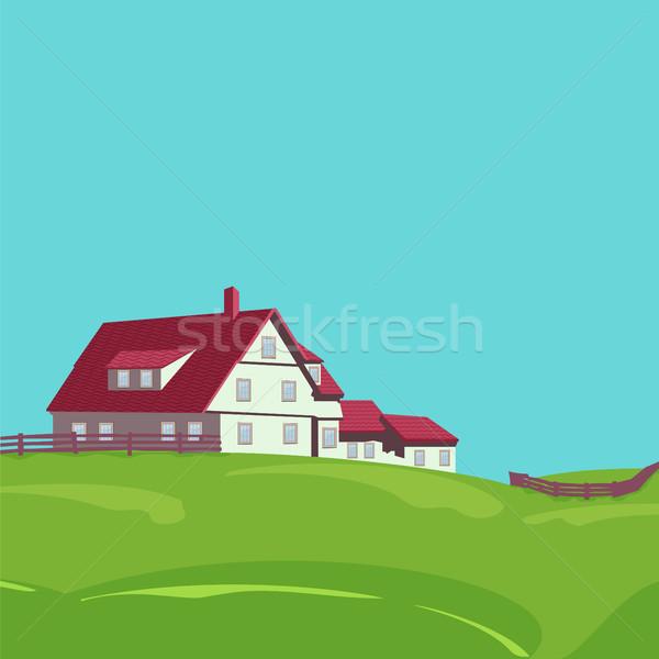 Rural landscape with villa Stock photo © Zhukow