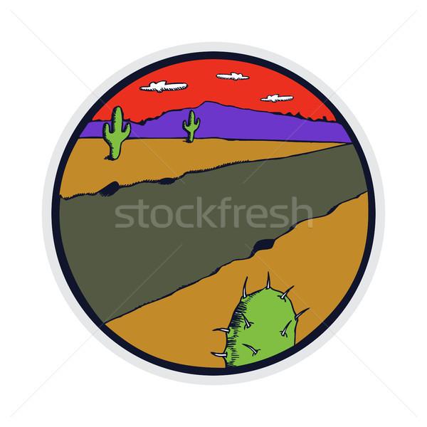 Stockfoto: Ontwerp · westerse · woestijn · illustratie · retro-stijl · badge