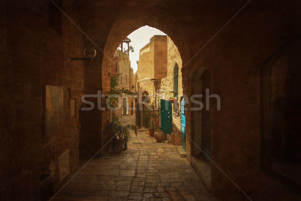 Keskeny utca öreg Izrael egy ősi Stock fotó © Zhukow