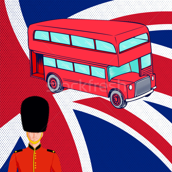 British red bus, Royal guard, flag UK. Stock photo © Zhukow