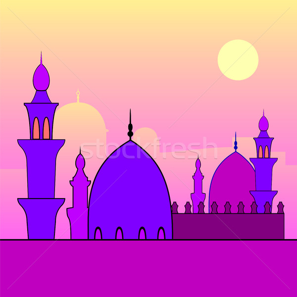 Landscape with mosques and sunset. Stock photo © Zhukow