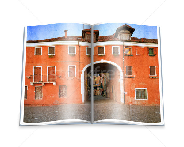 An opened  book with a picture Old Venetian yard, Italy. Stock photo © Zhukow