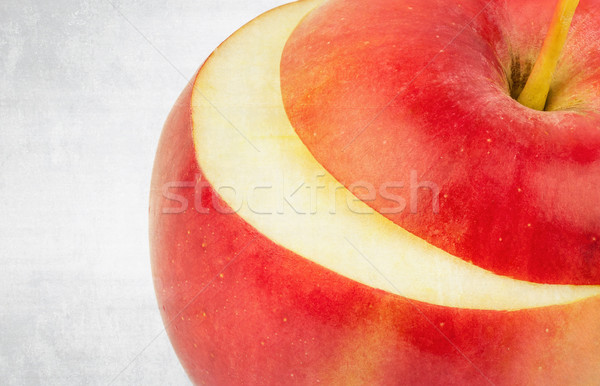 textured old paper background with fresh red apple Stock photo © Zhukow