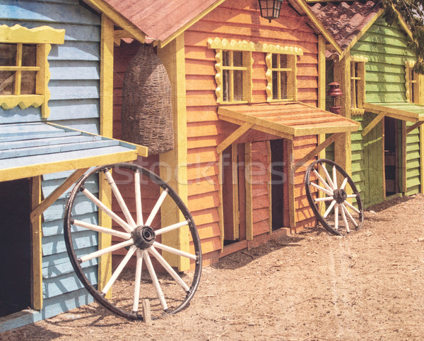 Stock photo: houses for the animals on the farm, retro color style