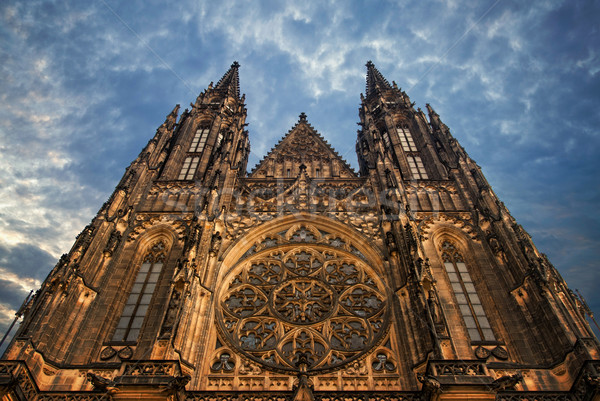 St. Vita`s Cathedral in Prague at the night Stock photo © Zhukow