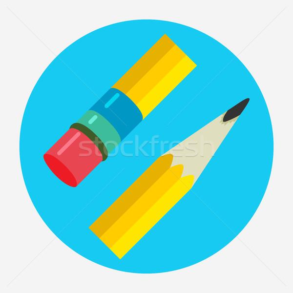 Pencil Icon flat vector illustration logo. Stock photo © Zhukow
