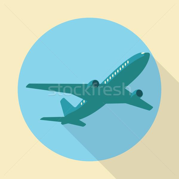 Сток-фото: воздуха · плоскости · икона · долго · тень · синий