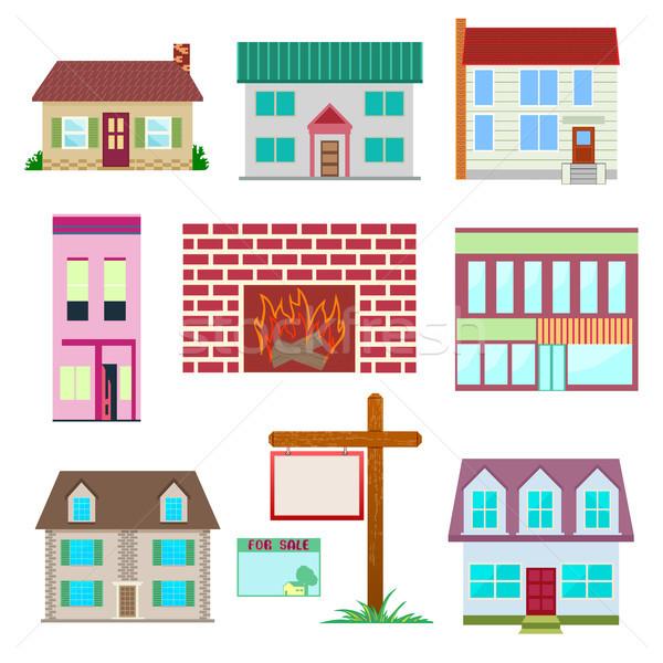Casa conjunto colorido casa ícone coleção Foto stock © Zhukow