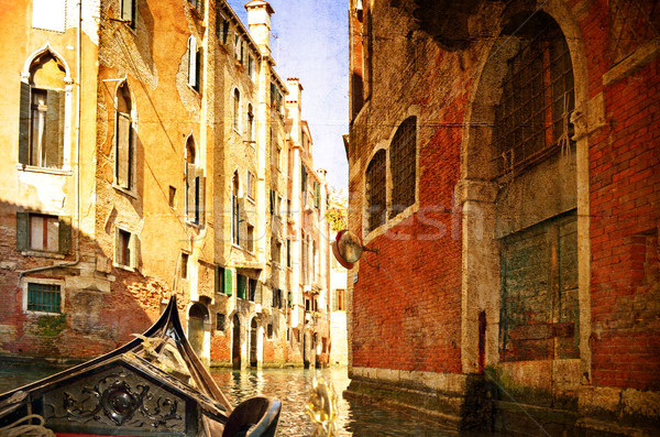 Beautiful water street - Venice, Italy. Photo in old color image style. Stock photo © Zhukow