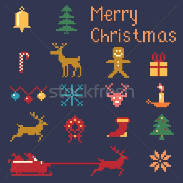 Рождества зима Пиксели стиль шаблон Сток-фото © Zhukow