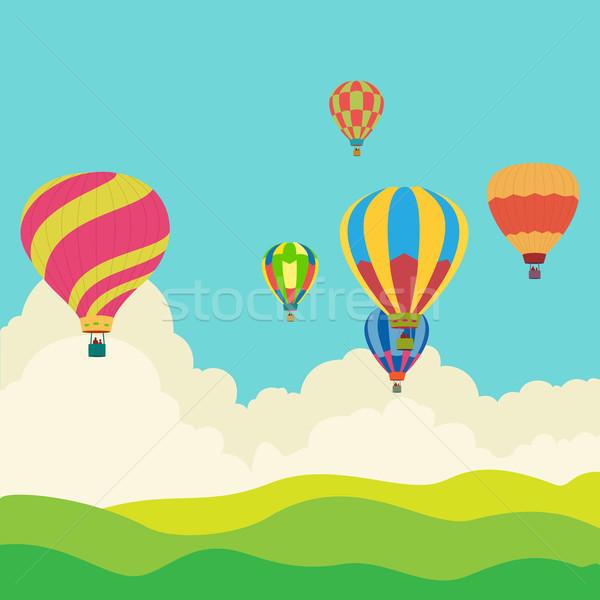 Balonem niebo kartkę z życzeniami sportu sztuki podróży Zdjęcia stock © Zhukow