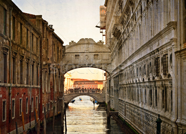 Bridge of Sighs - Ponte dei Sospiri. Venice, Italy, Europe.Photo in old color image style. Stock photo © Zhukow