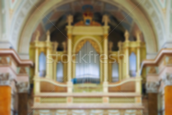 Interieur kathedraal Blur abstract kerk orgel Stockfoto © Zhukow
