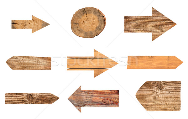 collection of various empty wooden sign on white background Stock photo © Zhukow