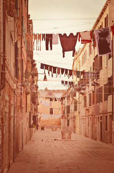 Old Venetian yard, Italy.Photo in old color image style. Stock photo © Zhukow