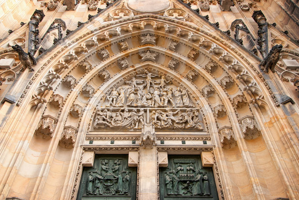 Detallado vista portal catedral Praga República Checa Foto stock © Zhukow