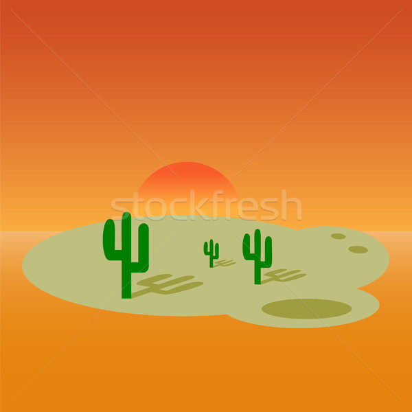Cartoon desert landscape banner design. Stock photo © Zhukow