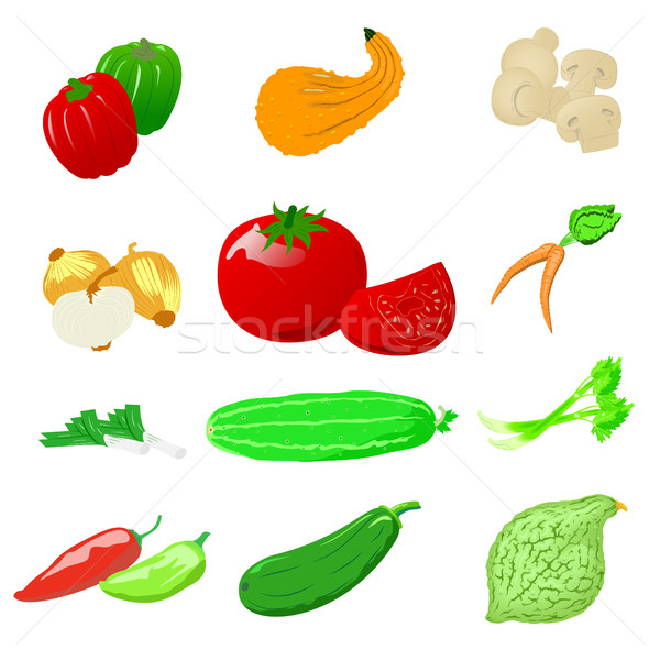 Zöldségek fotó valósághű vektor szett ikonok Stock fotó © Zhukow