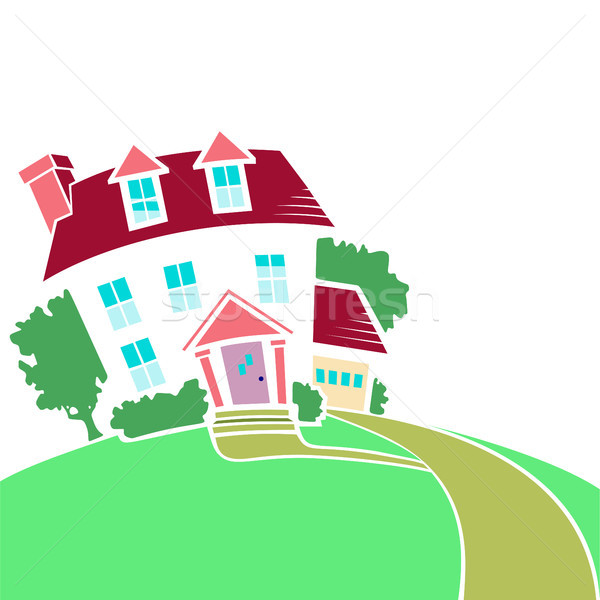 House on a top of a hill in spring or summer season. Stock photo © Zhukow