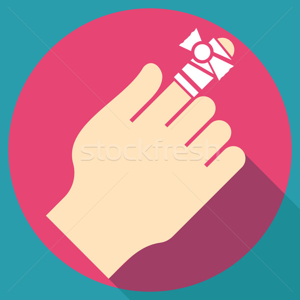 Stock photo: Bandage on finger flat icon