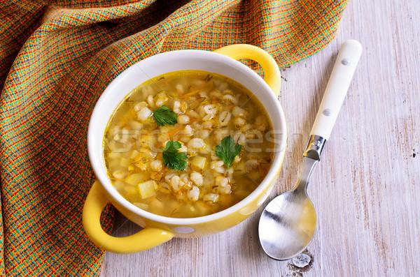 Zupa perła jęczmień warzyw tablicy żywności Zdjęcia stock © zia_shusha