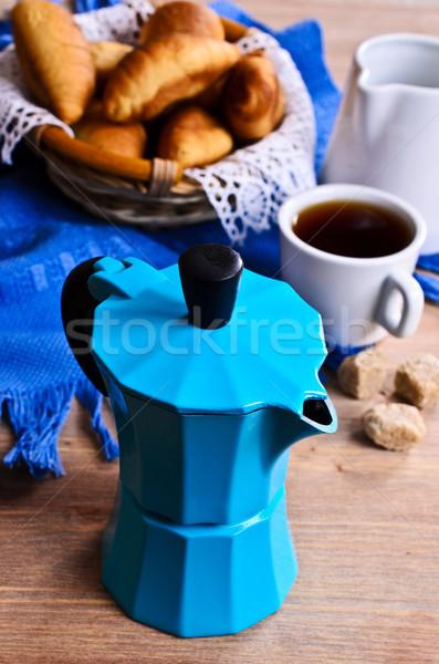Mavi renk kruvasan kahve Stok fotoğraf © zia_shusha